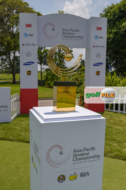 A shot of the trophy going to the winner of the Asia-Pacific Amateur Championship, Sentosa Golf Club, Singapore. 10/4/2018.<br /> Picture: Golffile   Ken Murray<br /> <br /> <br /> All photo usage must carry mandatory copyright credit (© Golffile   Ken Murray)