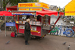 Hotdog stand along canal, Amsterdam, Netherlands,