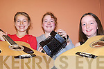 TUNING UP: Margaret Mulvihill, Lisa Mulvihill and Niamh Flaherty who took part in the Moyvane Performance Camp at the Marian Hall last Friday.