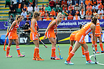 The Hague, Netherlands, June 14: Willemijn Bos #7 of The Netherlands gestures as players of line up for a penalty corner during the field hockey gold medal match (Women) between Australia and The Netherlands on June 14, 2014 during the World Cup 2014 at Kyocera Stadium in The Hague, Netherlands. Final score 2-0 (2-0)  (Photo by Dirk Markgraf / www.265-images.com) *** Local caption ***