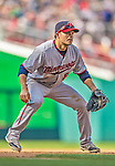 8 June 2013: Minnesota Twins utilityman Jamey Carroll in action against the Washington Nationals at Nationals Park in Washington, DC. The Twins edged out the Nationals 4-3 in 11 innings. Mandatory Credit: Ed Wolfstein Photo *** RAW (NEF) Image File Available ***