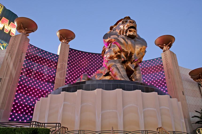 Neon lighting dusk lion at MGM Grand on The Strip Las Vegas Nevada