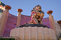 Neon lighting dusk lion at MGM Grand on The Strip Las Vegas Nevada
