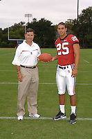 7 August 2006: Stanford Cardinal head coach Walt Harris and Stephen Carr during Stanford Football's Team Photo Day at Stanford Football's Practice Field in Stanford, CA.