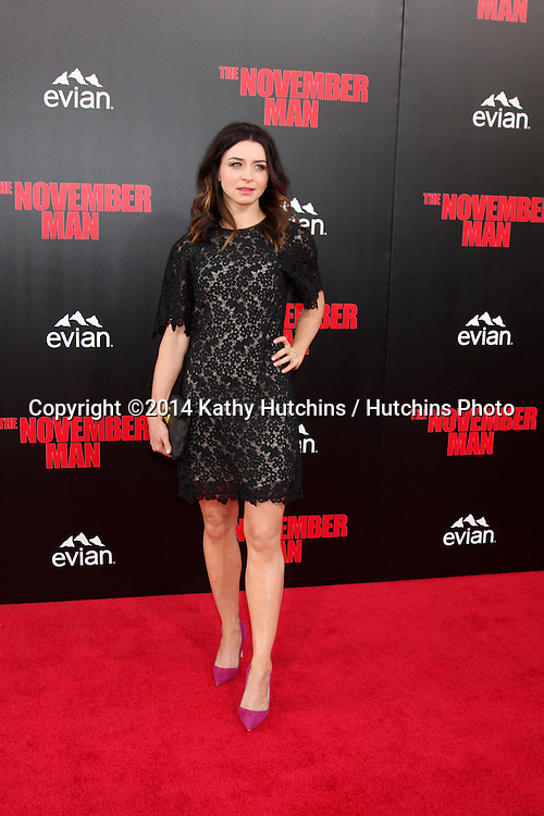 "LOS ANGELES - AUG 13:  Caterina Scorsone at ""The November Man"" Premiere at TCL Chinese Theater on August 13, 2014 in Los Angeles, CA"