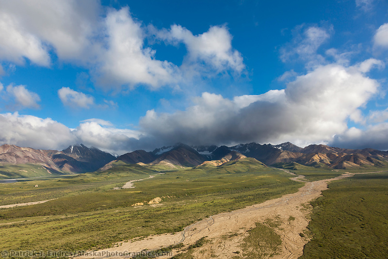 Summer view of the scenic Polychrome mountains and river drainages from Polychrome Pass in Denali National Park, Interior, Alaska.