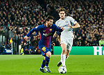 Lionel Andres Messi (L) of FC Barcelona battles for the ball with Marcos Alonso of Chelsea FC during the UEFA Champions League 2017-18 Round of 16 (2nd leg) match between FC Barcelona and Chelsea FC at Camp Nou on 14 March 2018 in Barcelona, Spain. Photo by Vicens Gimenez / Power Sport Images