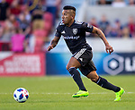 Real Salt Lake forward Joao Plata (10) moves the ball in the first half Saturday, April 21, 2018, during the Major League Soccer game at Rio Tiinto Stadium in Sandy, Utah. RSL beat the Colorado Rapids 3-0. (© 2018 Douglas C. Pizac)