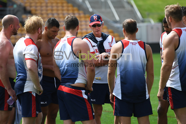 England coach Wayne Bennett talks to his players.<br /> England Rugby League captain's run and training at Mt Smart Stadium, Auckland, New Zealand. Friday 24 November 2017 ahead of the Rugby League World Cup semi-final against Tonga tomorrow. &copy; Copyright Photo: Andrew Cornaga / www.photosport.nz MANDATORY CREDIT/BYLINE : Andrew Cornaga/SWpix.com/PhotosportNZ