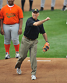 Baltimore, MD - April 6, 2009 -- United States Vice President Joseph Biden throws out the ceremonial first ball on Openig Day as the New York Yankees visit the Baltimore Orioles at Oriole Park at Camden Yards in Baltimore, MD on Monday, April 6, 2009..Credit: Ron Sachs / CNP.(RESTRICTION: NO New York or New Jersey Newspapers or newspapers within a 75 mile radius of New York City)