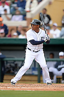 Detroit Tigers outfielder Ezequiel Carrera (61) during a spring training game against the Atlanta Braves on February 27, 2014 at Joker Marchant Stadium in Lakeland, Florida.  Detroit defeated Atlanta 5-2.  (Mike Janes/Four Seam Images)