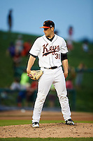 Frederick Keys relief pitcher Tanner Scott (31) during a game against the Carolina Mudcats on June 4, 2016 at Nymeo Field at Harry Grove Stadium in Frederick, Maryland.  Frederick defeated Carolina 5-4 in eleven innings.  (Mike Janes/Four Seam Images)