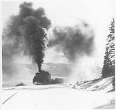 D&amp;RGW K-37 with eastbound freight approaching Cumbres from Windy Point.<br /> D&amp;RGW  Cumbres, CO  late 1960