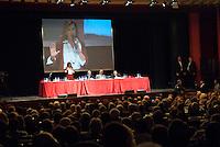 """Daniela Santanché con Giuliano Ferrara, Vittorio Feltri, e Alessandro Sallusti all'incontro """"Subito al voto"""" al teatro Manzoni. Milano, 12 novembre 2011.Daniela Santanché con Giuliano Ferrara, Vittorio Feltri and Alessandro Sallusti at the meeting """"Vote now"""" at Manzoni theater. Milan, November 12, 2011."""