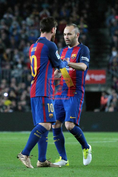 League Santander 2016/2017. Game: 32.<br /> FC Barcelona vs Real Sociedad: 3-2.<br /> Lionel Messi &amp; Andres Iniesta.