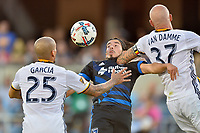 San Jose, CA - Monday July 10, 2017: Rafael Garcia, Jahmir Hyka, Jelle Van Damme during a U.S. Open Cup quarterfinal match between the San Jose Earthquakes and the Los Angeles Galaxy at Avaya Stadium.