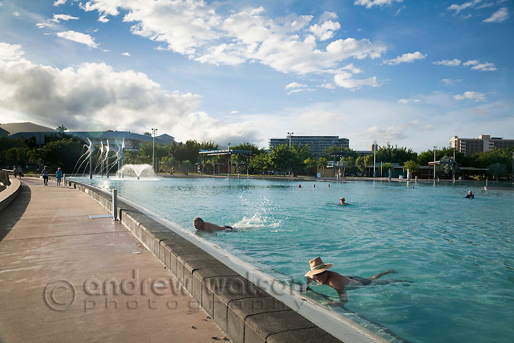 Morning swimmers at the Esplanade Lagoon.  Cairns, Queensland, Australia