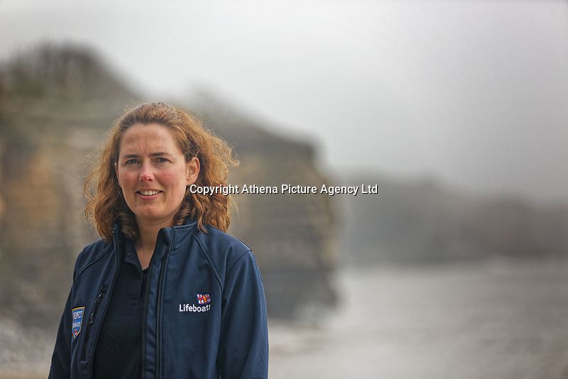 Pictured: Hannah Nobbs, Innovation Scout for the RNLI. Friday 20 April 2018 <br /> Re: The Royal National Lifeboat Institution (RNLI) and the Maritime and Coastguard Agency (MCA) have held a special media event to demonstrate how drones could be used in search and rescue activity in the future to help save lives at the Atlantic College in St Donats, south Wales, UK. <br /> The rescue scenario took place along a stretch of coastline in south Wales, featuring a drone, an RNLI lifeboat and an MCA helicopter winching the casualty to safety.