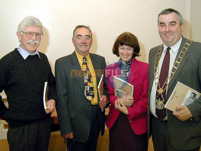 Ned and Mary McHugh with the Mayor of Drogheda Cllr. Sean Collins and Jim Garry at the launch of Jim's book, The Cord Cemetery in The Governer's House, Millmount on Thursday..Picture Paul Mohan Newsfile