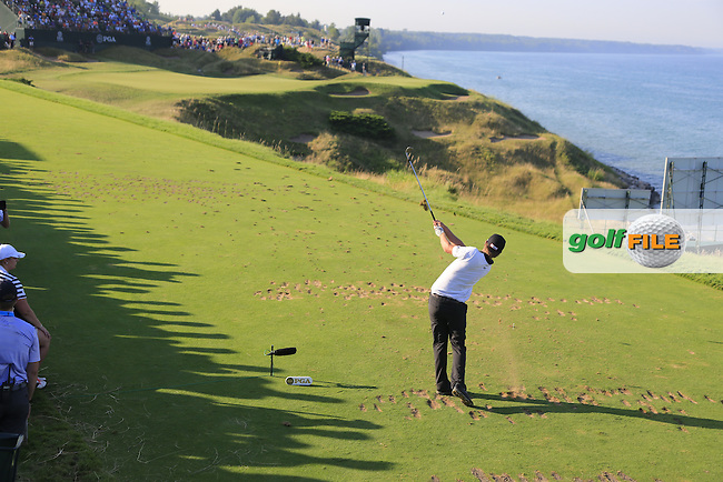 Matt Jones (AUS) tees off the par3 12th tee during Saturday's Round 3 of the 97th US PGA Championship 2015 held at Whistling Straits, Mosel, Kohler, Wisconsin, United States of America. 15/08/2015.<br /> Picture Eoin Clarke, www.golffile.ie