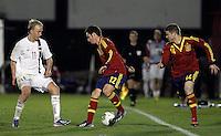 Spain's Alberto Moreno (r), Sarabia (c) and Norway's Nielsen during an International sub21 match. March 21, 2013.(ALTERPHOTOS/Alconada) /NortePhoto