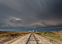 Thunderstorm Above Railroad Tracks & Grain Silo in Goodland, KS, June 15, 2012