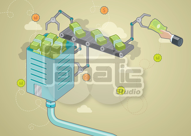 Human hand giving paper money to iron clip with conveyor belt depicting investment
