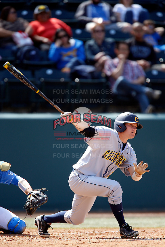 Brian Celsi #25 of the California Golden Bears bats against the UCLA Bruins at Jackie Robinson Stadium on March 23, 2013 in Los Angeles, California. (Larry Goren/Four Seam Images)
