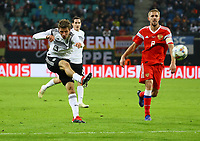 Thomas Mueller (Deutschland Germany) zieht ab - 15.11.2018: Deutschland vs. Russland, Red Bull Arena Leipzig, Freundschaftsspiel DISCLAIMER: DFB regulations prohibit any use of photographs as image sequences and/or quasi-video.