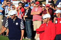 Matt Kuchar, Duston Johnson on the 14th hole during the Sunday singles matches of the 39th Ryder Cup at Medinah Country Club, Chicago, Illinois .(Photo Colum Watts/www.golffile.ie)