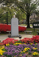 AJ3368, Augusta, Georgia, War memorial and gardens of red azaleas, purple and yellow flowers in the spring in Augusta in the state of Georgia.