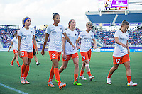 Orlando, Florida - Saturday, April 23, 2016: Member of the Houston Dash including forward Rachel Daly (3), defender Poliana Barbosa (2), defender Rebecca Moros (4), and midfielder Andressa Machry (17) during an NWSL match between Orlando Pride and Houston Dash at the Orlando Citrus Bowl.
