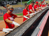 The world's longest bratwurst (68 feet) has to be turned in unison. The brat is one of two cooked at All-Star Sunday at Warner Park. Brat sales go to support the Madison Children's Museum.