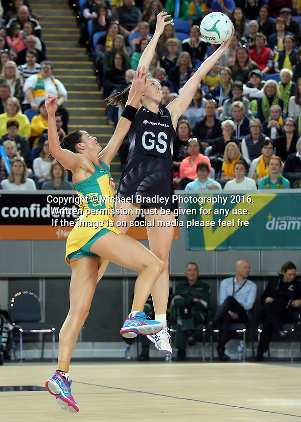 04.09.2016 Silver Ferns Bailey Mes and Australia's Sharni Layton in action during the Netball Quad Series match between the Silver Ferns and Australia played at Margaret Court Arena in Melbourne. Mandatory Photo Credit ©Michael Bradley.