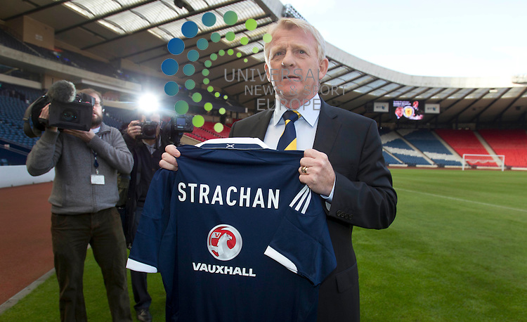 "Gordon Strachan has been confirmed as the new manager of Scotland at a photo call at Hampden Park, Glasgow..The former Celtic and Middlesbrough boss replaces Craig Levein, who was sacked in November following a run of poor results..Strachan has signed a contract that will run until the end of the Euro 2016 qualifying campaign...""I'm very proud but also my family are proud. The time is right for me to be able to take a job like this,"" he said after his appointment was announced..""Every club you go to there's always challenges but this is the first time the challenges are in front of a nation. .Universal News And Sport (Scotland). 15 January 2013 www.unpixs.com."