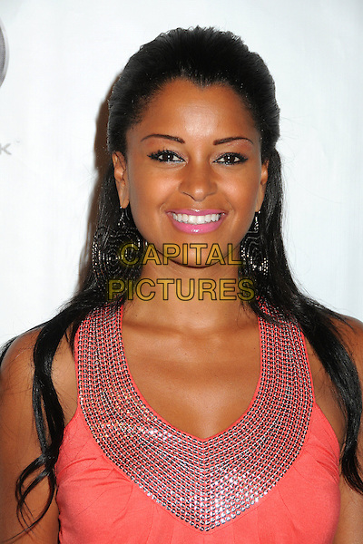 "Claudia Jordan.Kevin Hart's ""Laugh At My Pain"" Los Angeles Premiere held at the Pacific Design Center, West Hollywood, California, USA..September 7th, 2011.headshot portrait pink beads beaded .CAP/ADM/BP.©Byron Purvis/AdMedia/Capital Pictures."
