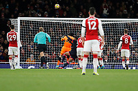Petr Čech of Arsenal sees the ball bounce off the bar during the Premier League match between Arsenal and Huddersfield Town at the Emirates Stadium, London, England on 29 November 2017. Photo by Carlton Myrie / PRiME Media Images.