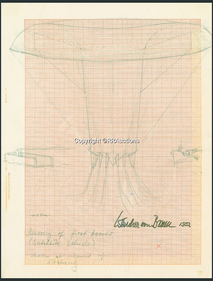 BNPS.co.uk (01202 558833)<br /> Pic: RRAuctions/BNPS<br /> <br /> von Braun's sketch of the first stage booster parachuting back to earth, where it could be collected and reused.<br /> <br /> Fly me To The Moon - Controversial 'father of the space race' Wernher von Braun's incredible 1950's drawings, calculations and letters that led to the conquest of the moon.<br /> <br /> Pioneering drawings by the infamous Nazi scientist, who was recruited by the Americans at the end of WW2 in order to help them win the Space Race against Soviet Russia have emerged for sale for £70,000.<br /> <br /> Dr Wernher von Braun led the Nazi rocket development program during the war and was the brains behind the dreaded V-2 rocket which killed 16,000 Londoners.<br /> <br /> But unlike other members of the German high command he was controversially not prosecuted for war crimes at the infamous Nuremburg Trials.<br /> <br /> Instead, he was secretly transported to the US and put in charge of their fledgling ballistic missile program.<br /> <br /> This technology was later used by von Braun to create the mighty Saturn V rockets that eventually took man to the moon.