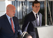 Acting Attorney General Matthew G. Whitaker and Senior Advisor Jared Kushner depart the South Portico of the White House in Washington, DC to join United States President Donald J. Trump aboard Marine One for a trip to Kansas City, Missouri on Friday, December 7, 2018.  The President earlier announced he had nominated William Barr as Attorney General to replace Jeff Sessions and Heather Nauert to be the next US ambassador to the United Nations, replacing Nikki Haley.  The President did not take any questions.<br /> Credit: Ron Sachs / CNP