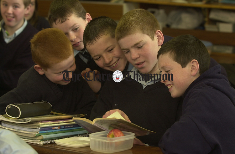 Declan Donnellan, Liam Conway, Michael Flynn, John Sexton and John O Kelly discuss  the stories of author Cora Harrison during her visit to Mullagh School. Photograph by John Kelly.