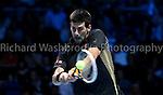 Novak Djokovic (SRB) beats Jo Wilfried Tsonga (FRA) 7:6  6:3  Barclays ATP World Tour Finals 2012  O2 Arena .<br /> <br /> Photo: Richard Washbrooke Tennis Head.