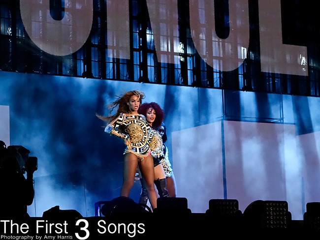 Jay-Z and Beyonce perform during their On the Run Tour at Great American Ball Park in Cincinnati, Ohio.