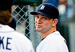 1 June 2011: Detroit Tigers outfielder Casper Wells in the dugout during the Minnesota Twins at Detroit Tigers Major League Baseball game at Comerica Park, in Detroit, Michigan. The Tigers won 4-2, sweeping the Twins in the three-game series. (Tony Ding/Icon SMI)