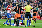 Atletico de Madrid's Lucas Hernández, Filipe Luis and Stefan Savic and Valencia CF's Eliaquim Mangala during La Liga match between Atletico de Madrid and Valencia CF at Vicente Calderon Stadium  in Madrid, Spain. March 05, 2017. (ALTERPHOTOS/BorjaB.Hojas)
