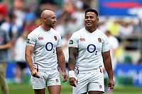 Willi Heinz and Manu Tuilagi of England look on after the match. Quilter International match between England and Wales on August 11, 2019 at Twickenham Stadium in London, England. Photo by: Patrick Khachfe / Onside Images