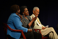 June 5, 2013  (Washington, DC)  (L-R) Gwen Ifill, Mrylie Evers and Julian Bond during a panel discussion at the Newseum on the 50th anniversary of assassination of civil rights activist Medgar Evers.  (Photo by Don Baxter/Media Images International)