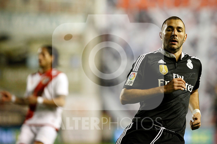 Benzema of Real Madrid during La Liga match between Rayo Vallecano and Real Madrid at Vallecas Stadium in Madrid, Spain. April 08, 2015. (ALTERPHOTOS/Caro Marin)