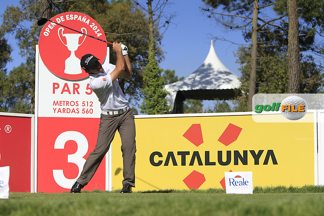 Gary Stal (FRA) on the 3rd tee during Thursday's Round 1 of The Open De Espana at The PGA Catalunya Resort. 15th May 2014.<br /> Picture:  Thos Caffrey / www.golffile.ie