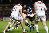 Levi Douglas of Bath Rugby takes on the Leicester Tigers defence. Anglo-Welsh Cup match, between Bath Rugby and Leicester Tigers on November 10, 2017 at the Recreation Ground in Bath, England. Photo by: Patrick Khachfe / Onside Images