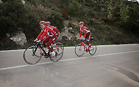 Joaquim Rodriguez (ESP/Katusha) on a stealthy black Canyon bike &amp; teammates training up Coll de Rates (Alicante, Spain)<br /> <br /> January 2016 Training Camps